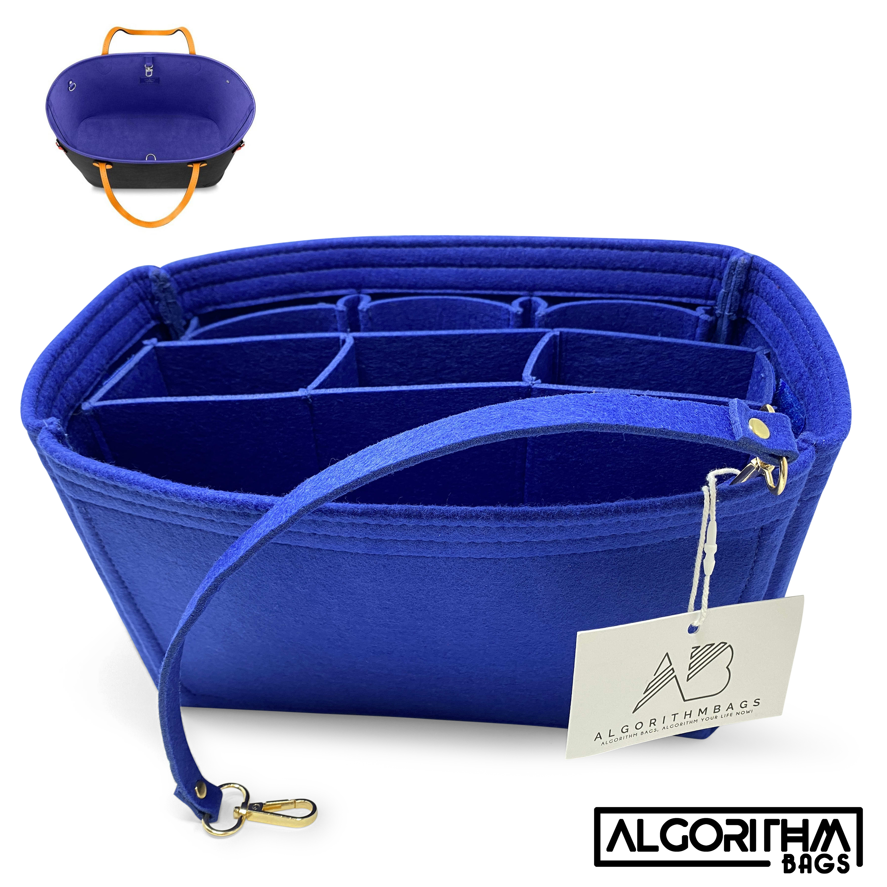 AlgorithmBags® Neverfull MM Organizer LV Purse Insert, Safran Blue